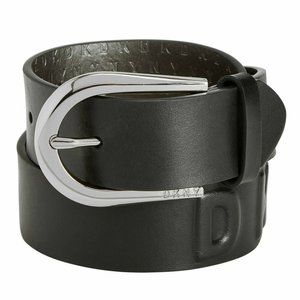 DKNY Women's Puffed Logo Leather Belt Black L NWT!